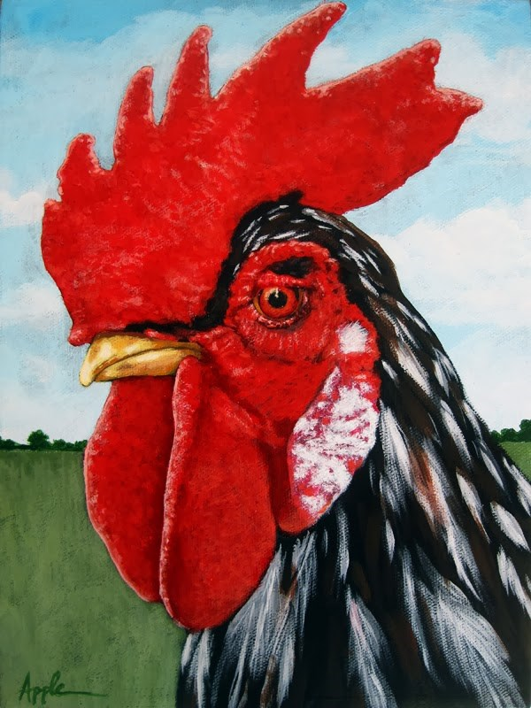 """ROOSTER farm animal art Original Oil Painting"" original fine art by Linda Apple"