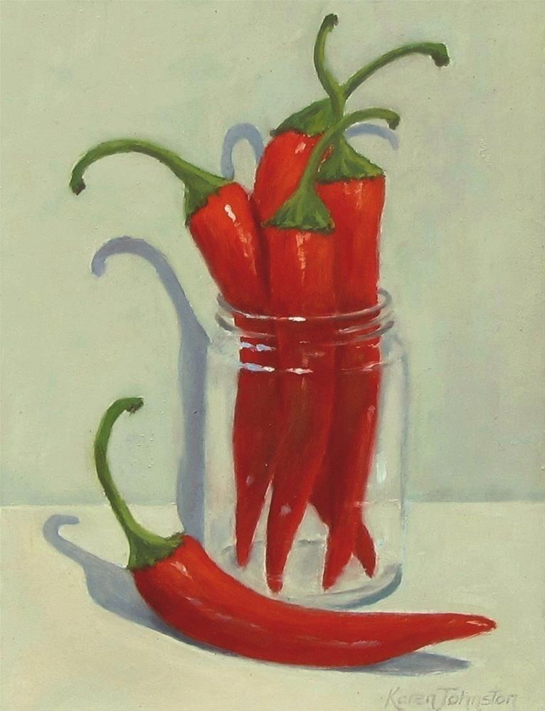"""""""Chilli Peppers"""" original fine art by Karen Johnston"""