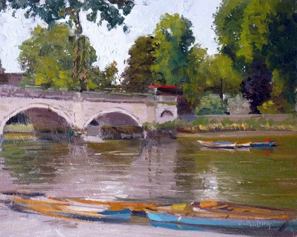 """Grey Day Reflections, Richmond Bridge"" original fine art by Adebanji Alade"