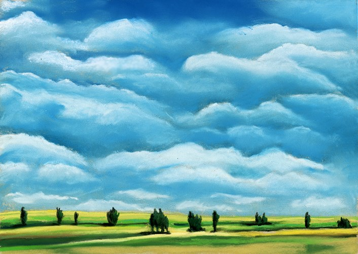 """""""Clouds and Trees landscape pastel painting"""" original fine art by Ria Hills"""