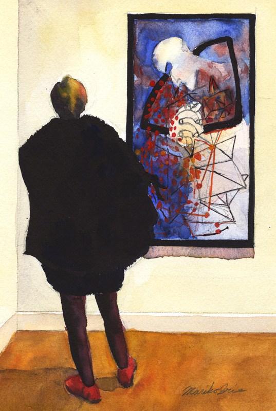 """""""Ben Shahn & a Woman"""" original fine art by Mariko Irie"""