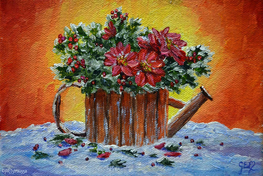"""Poinsettia Centerpiece"" original fine art by Gloria Ester"