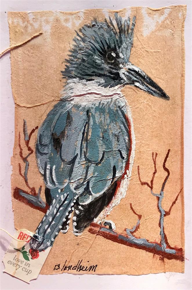 """Tea Bag Painting Kingfisher"" original fine art by Linda Blondheim"