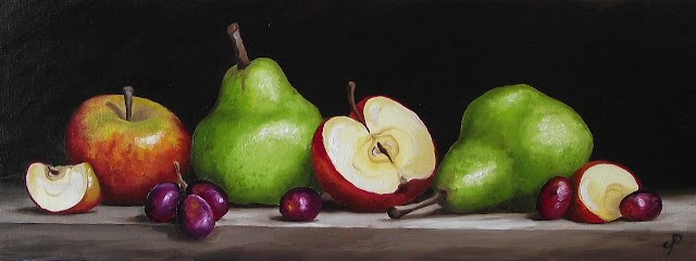 """""""Apples and Pears with grapes"""" original fine art by Jane Palmer"""