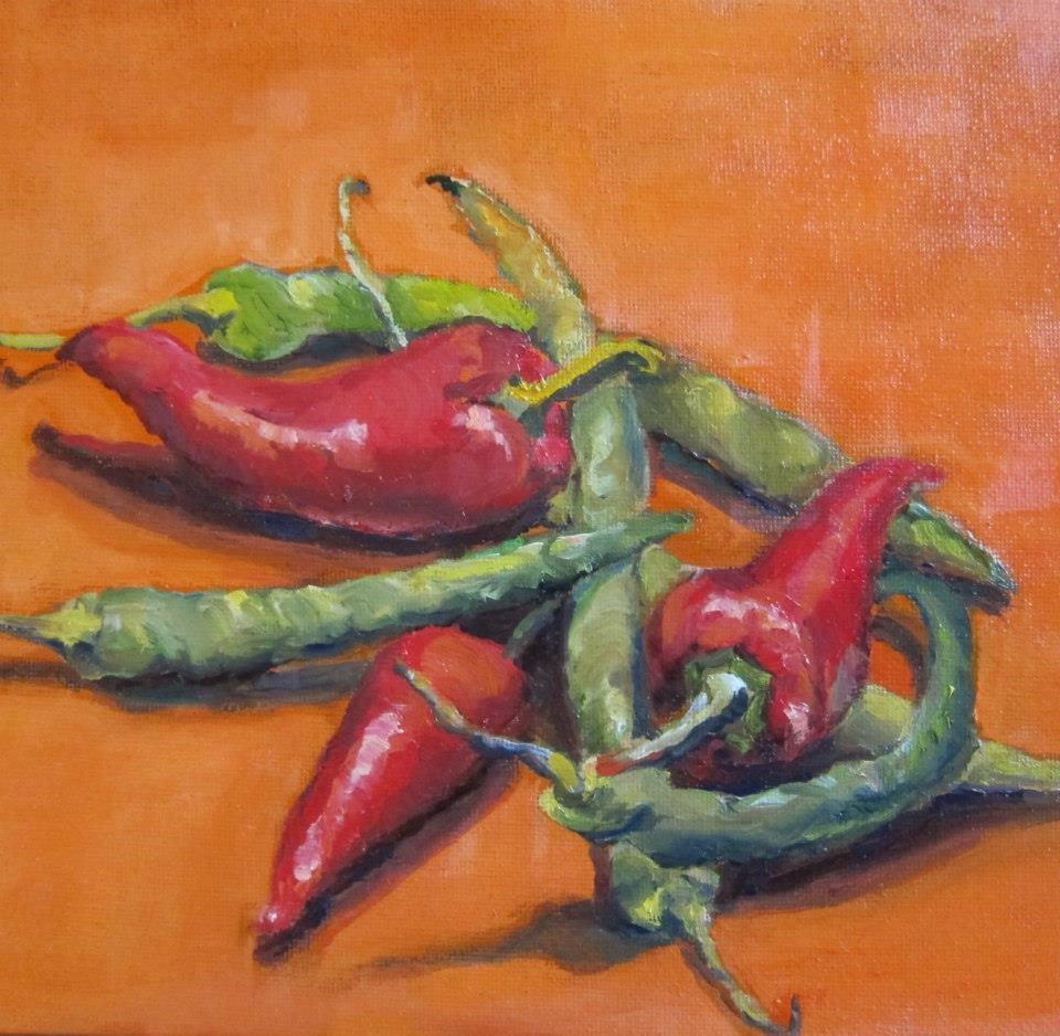 """""""red hot chilli peppers"""" original fine art by Kathy Bodamer"""