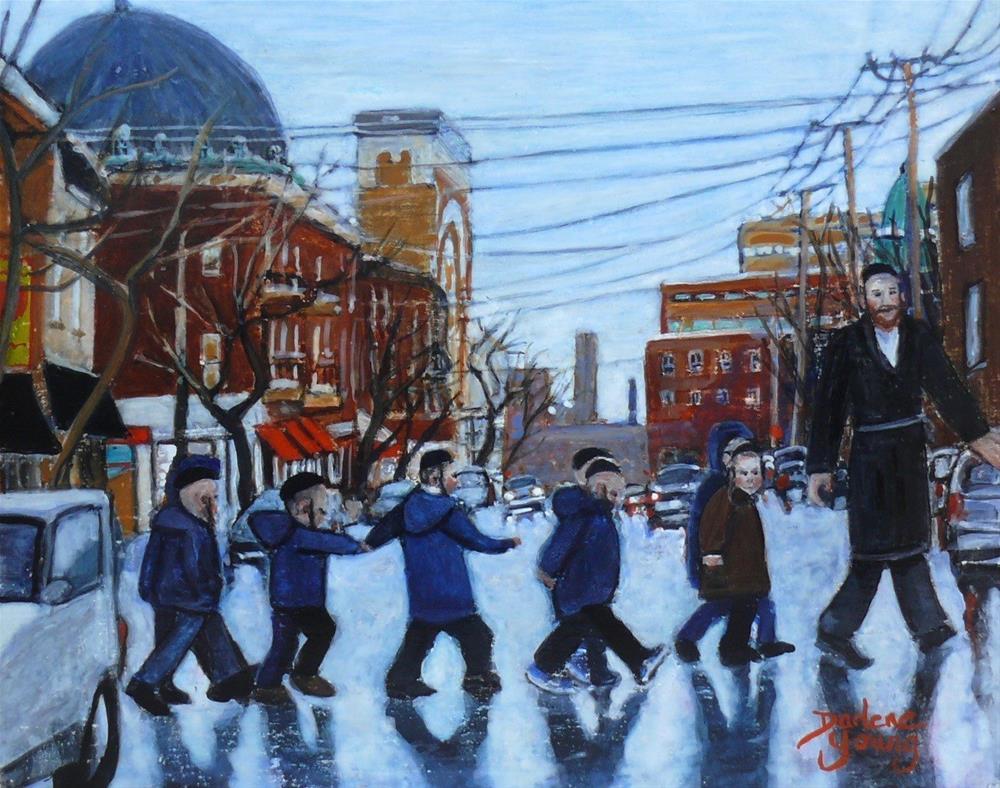 """1144 Safe Crossing, Mile End Scene,  8x10, egg tempera"" original fine art by Darlene Young"