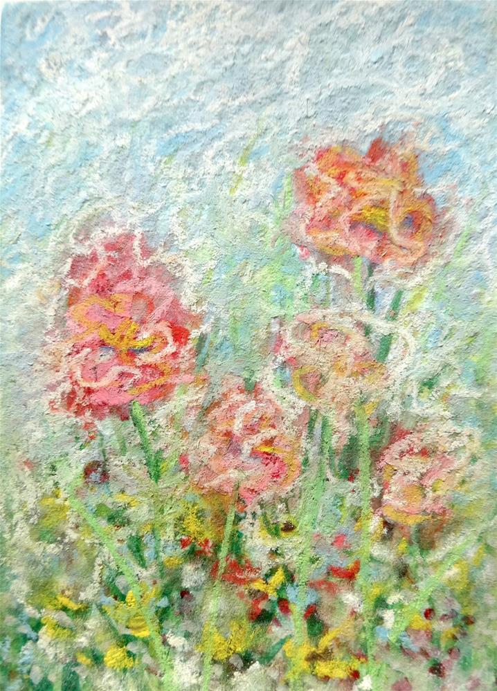 """6016 - WILD FLOWERS ACEO"" original fine art by Sea Dean"