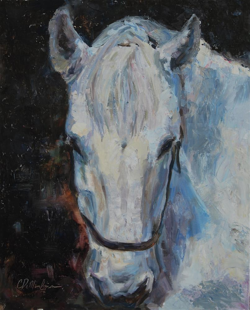 """Horse Painting, White Horse, Original oil by Carol DeMumbrum"" original fine art by Carol DeMumbrum"