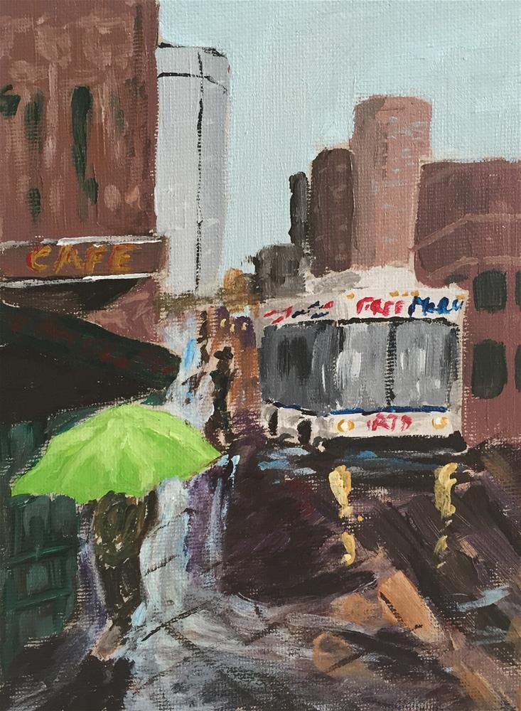 """Rainy walk to school"" original fine art by Cheree Apalona Lueck"