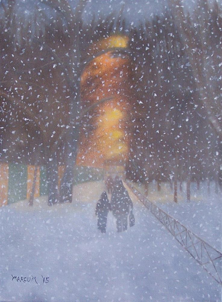 """City Snowfall"" original fine art by John Marcum"