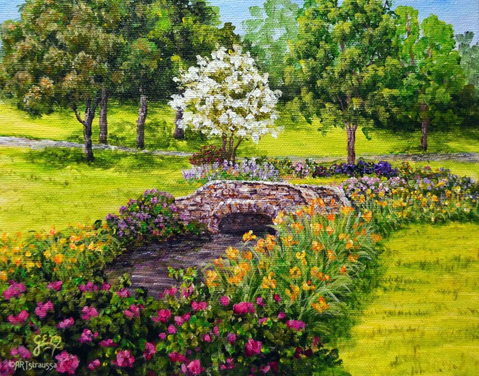 """SALE!!! Stone Bridge Garden"" original fine art by Gloria Ester"