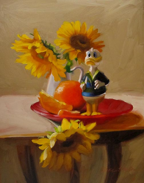 """""""Watchful painting of donald duck sunflowers"""" original fine art by Diane Hoeptner"""