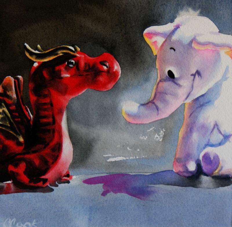 """Dragon vs. Heffalump"" original fine art by Crystal Cook"