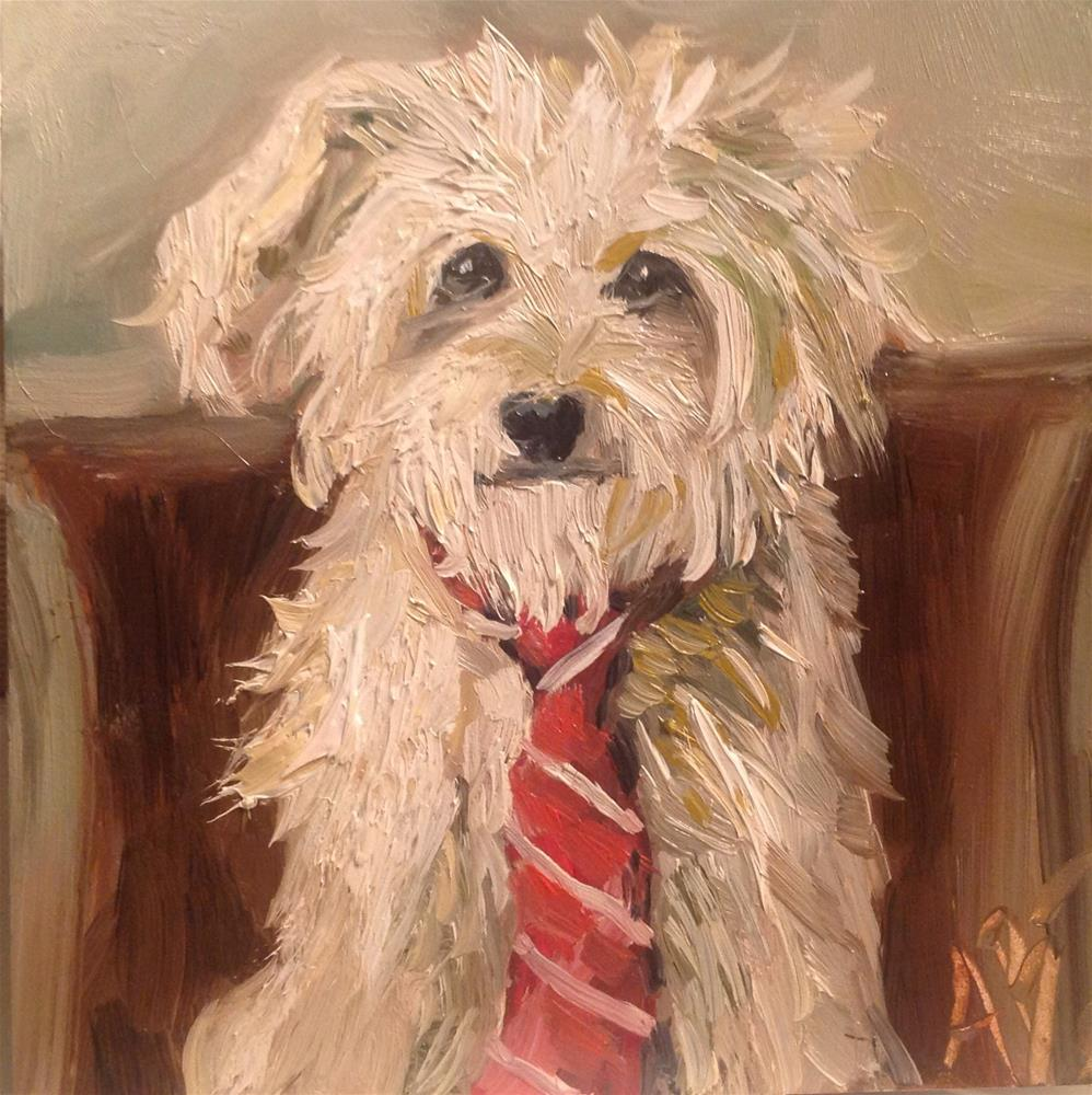 """""""This Dog is Tied"""" original fine art by Annette Balesteri"""