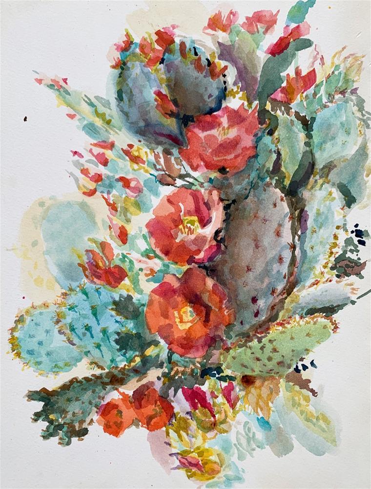 """Opuntia aciculata"" original fine art by Jean Krueger"