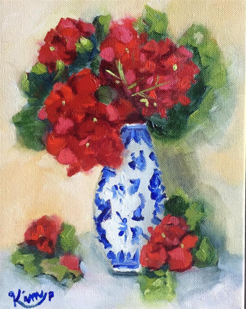 """""""Red geraniums in blue and white bud vase"""" original fine art by Kim Peterson"""