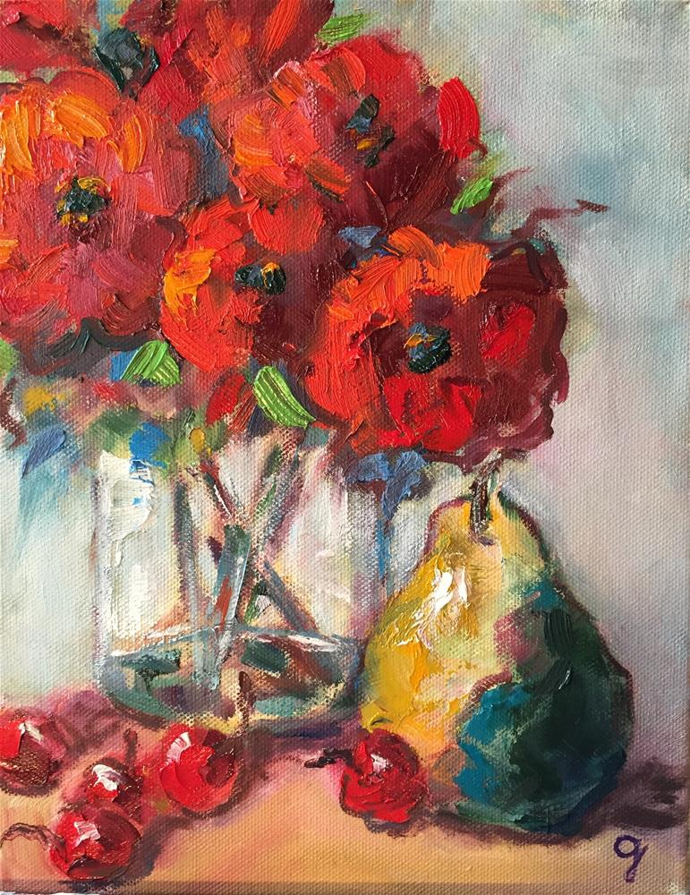 """Poppies and Pear"" original fine art by Gayle Lambeth"