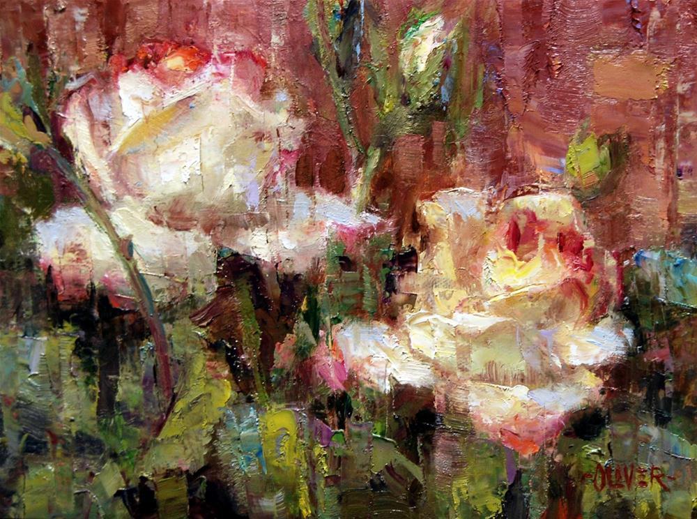 """""""Roses Against Adobe"""" original fine art by Julie Ford Oliver"""