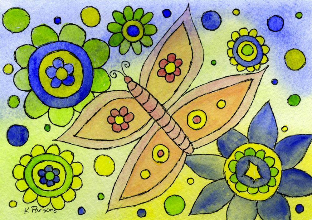 """""""Butterfly in a Sea of Flowers"""" original fine art by Kali Parsons"""