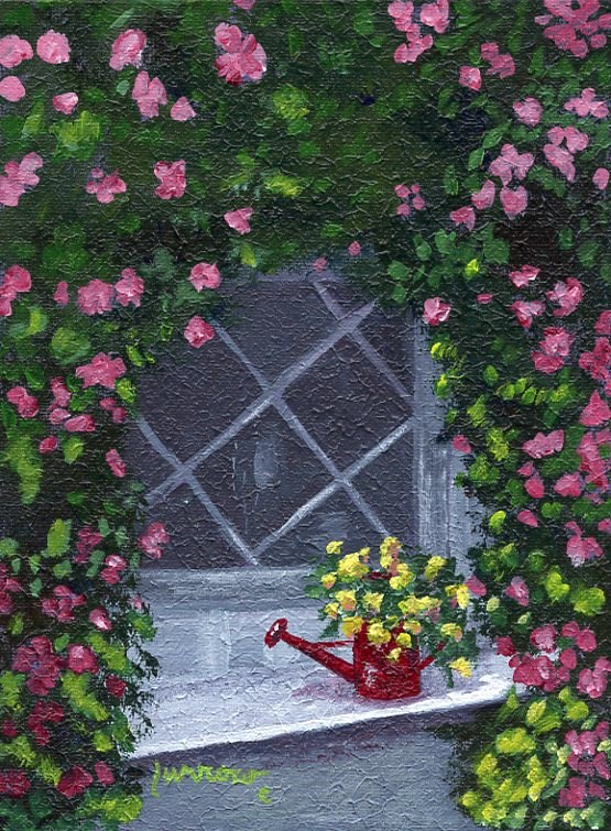 """ORIGINAL PAINTING OF WINDOW SEAT  IN A GARDEN"" original fine art by Sue Furrow"