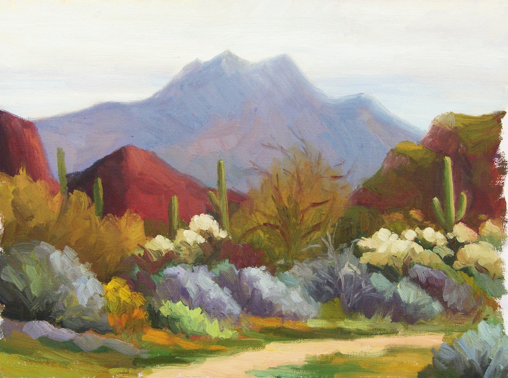 """Four Peaks on a Cloudy Day"" original fine art by Sherri Aldawood"