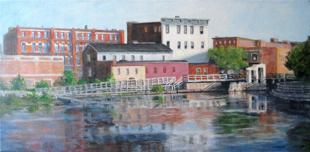 """Pawtucket Canal at Central"" original fine art by Linda Demers"