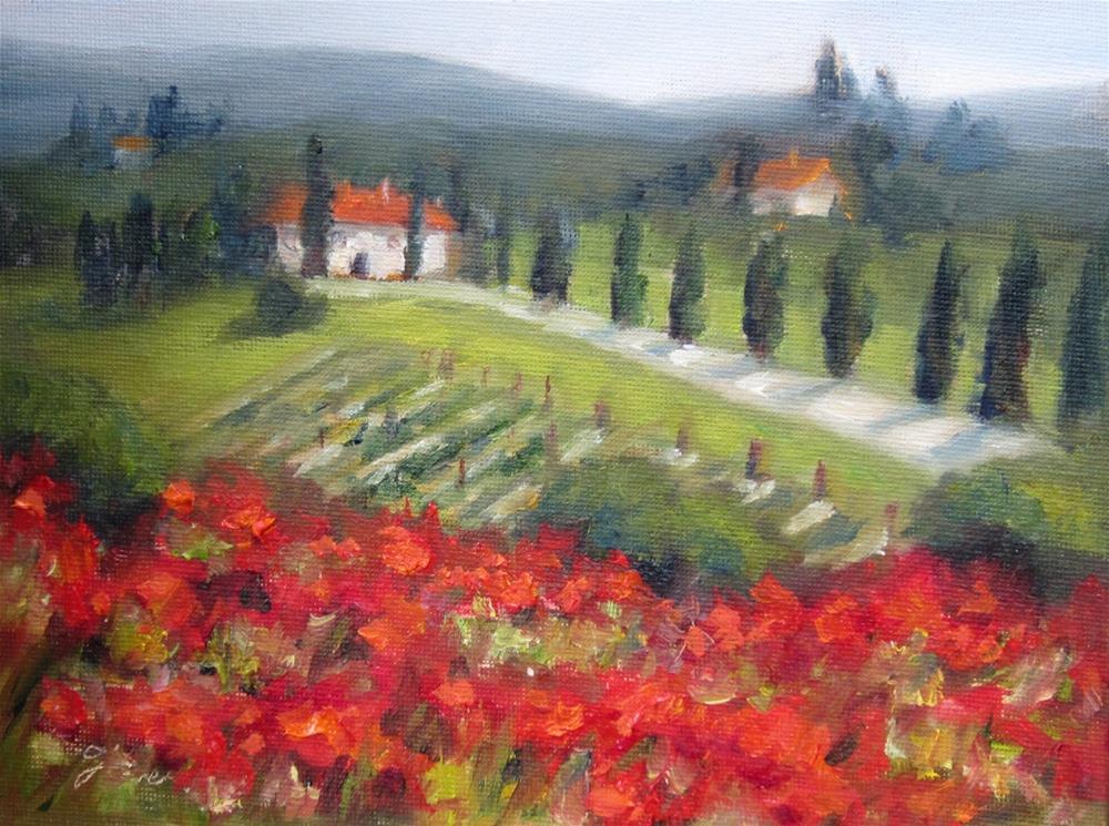 """""""Tuscany: The Road Home -Study"""" original fine art by Pat Fiorello"""