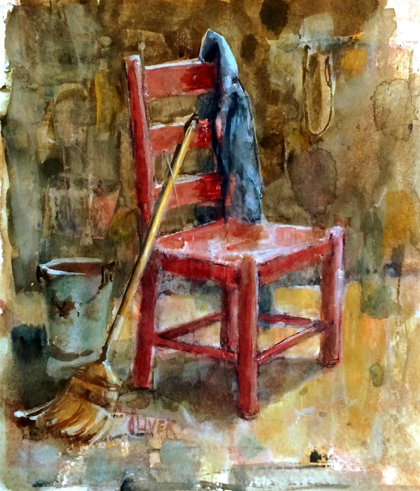 """""""Interiors - Red Chair - day 9"""" original fine art by Julie Ford Oliver"""
