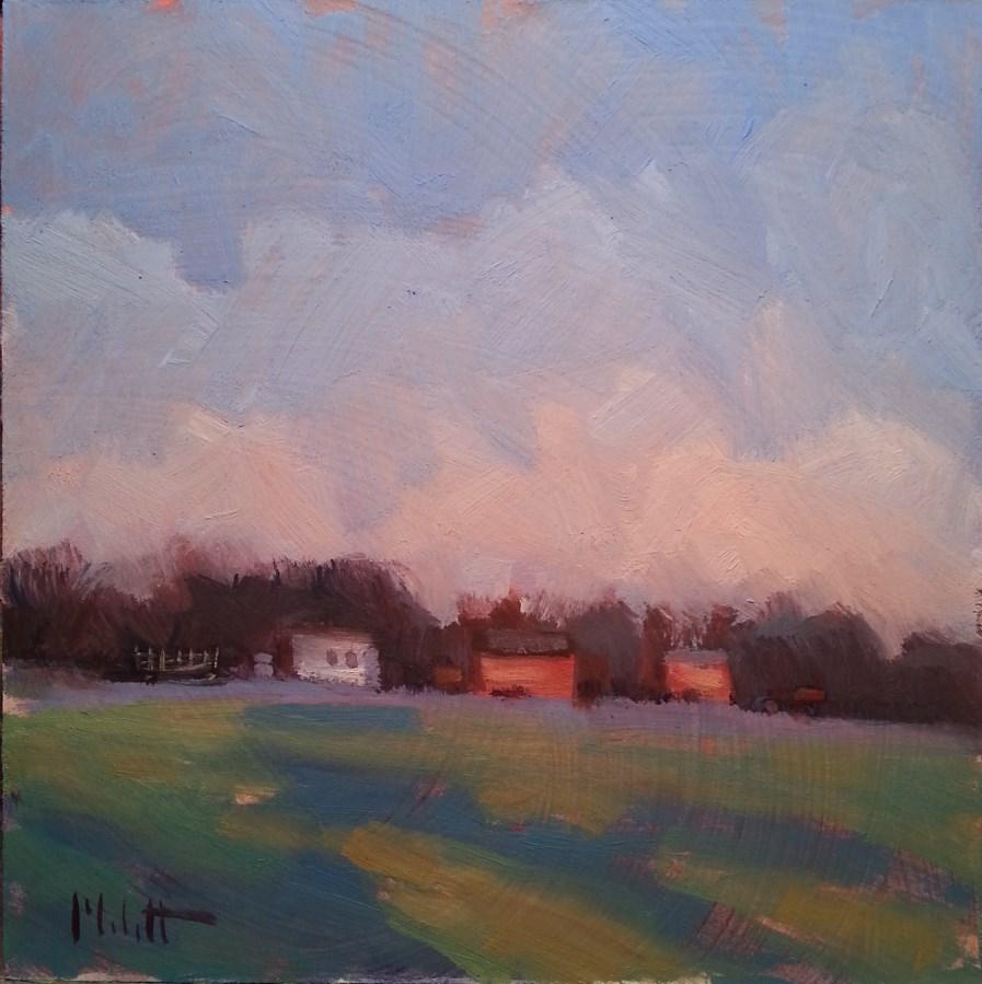 """Warm Biscuits and Coffee Red Barn Rural Landscape"" original fine art by Heidi Malott"