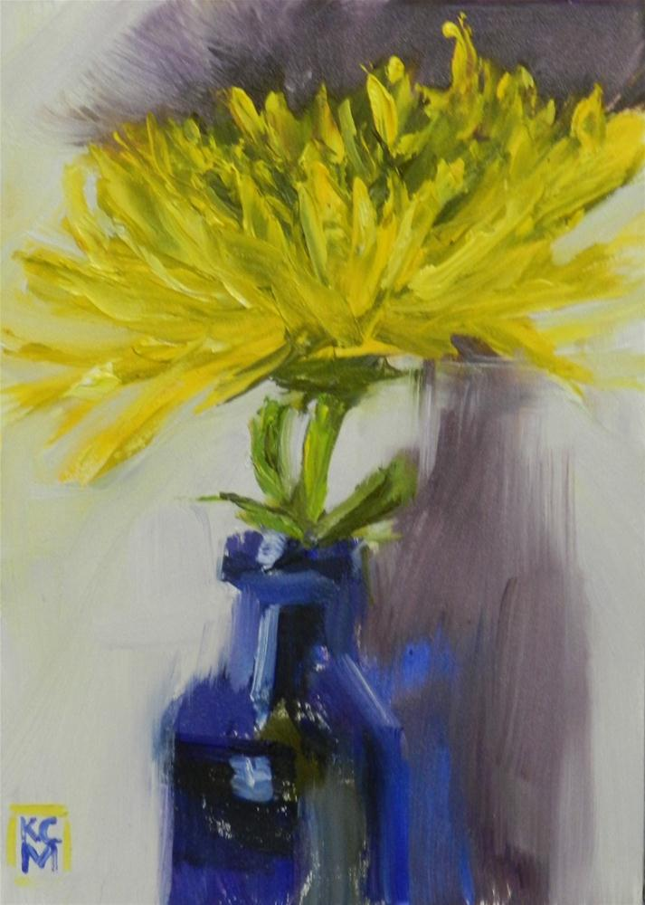 """""""Yellow Spider Mum, 5x7 Inches, Oil Painting by Kelley MacDonald"""" original fine art by Kelley MacDonald"""