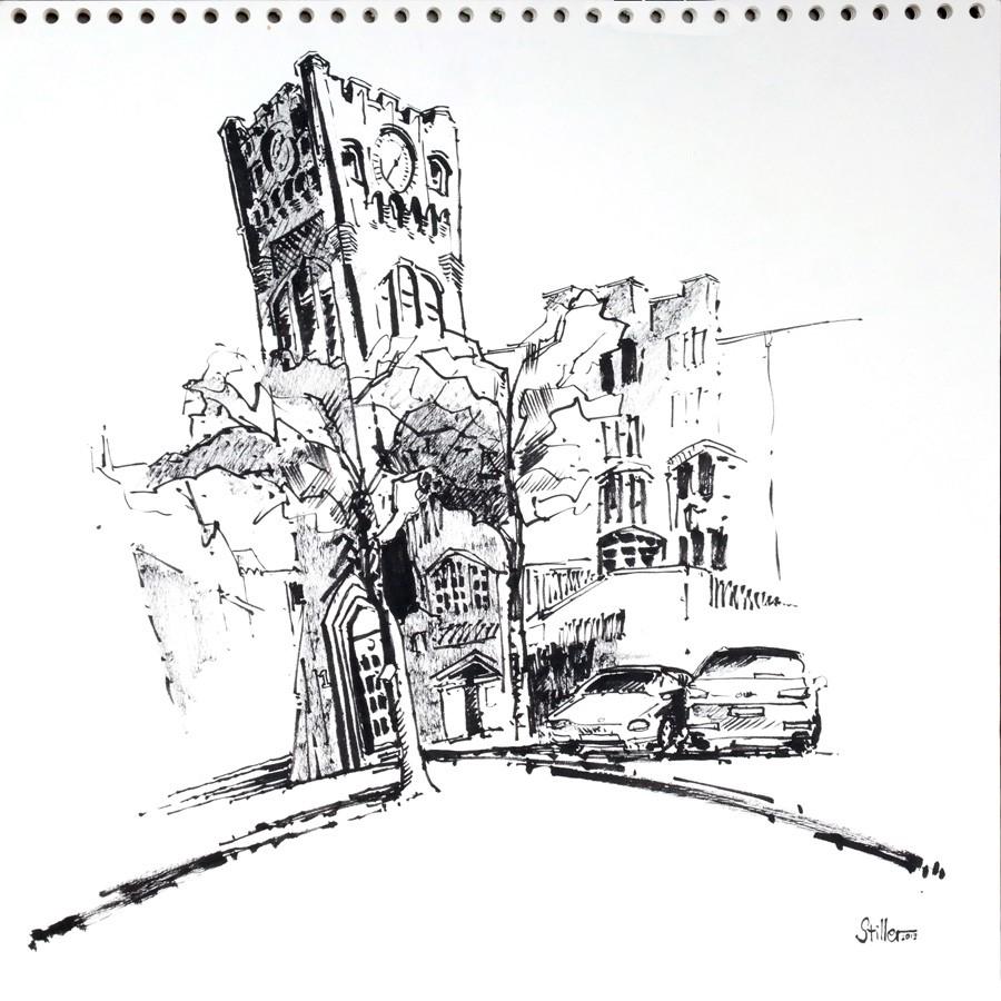 """""""2910 Clock Tower"""" original fine art by Dietmar Stiller"""