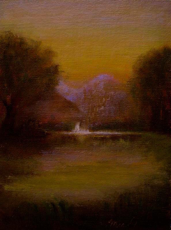 """Waterfall at Little Pond"" original fine art by MeeLi Lee"