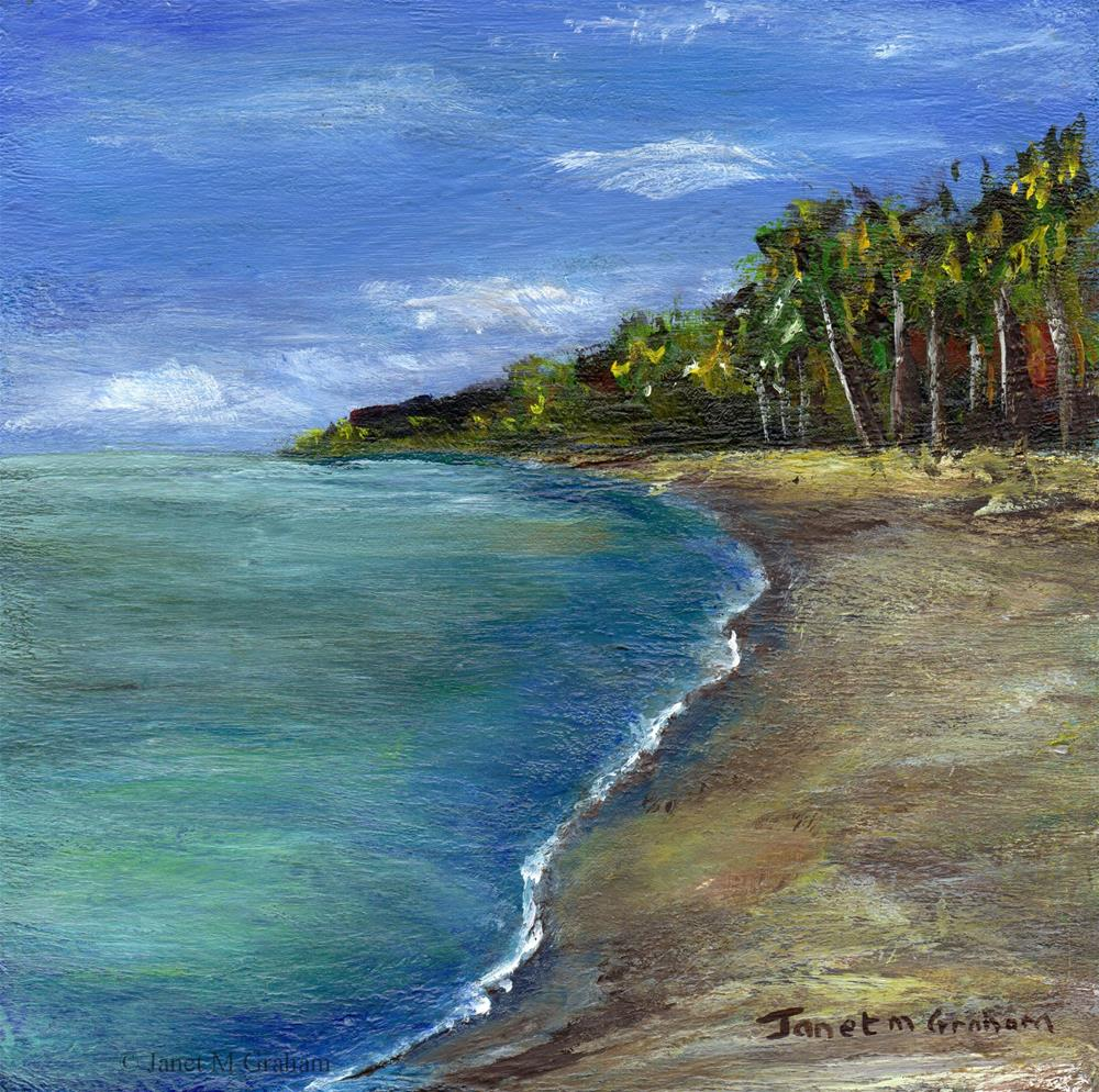 """Tropical Beach"" original fine art by Janet Graham"