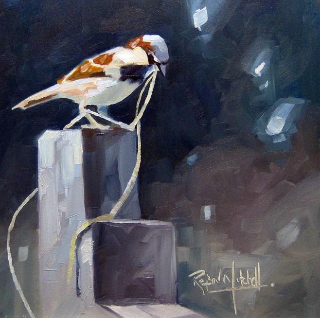 """""""No 534  Nest Builder"""" original fine art by Robin J Mitchell"""