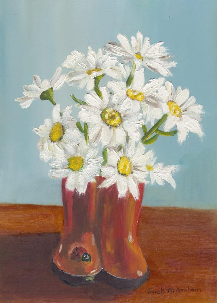 """Daisies in Boots"" original fine art by Janet Graham"