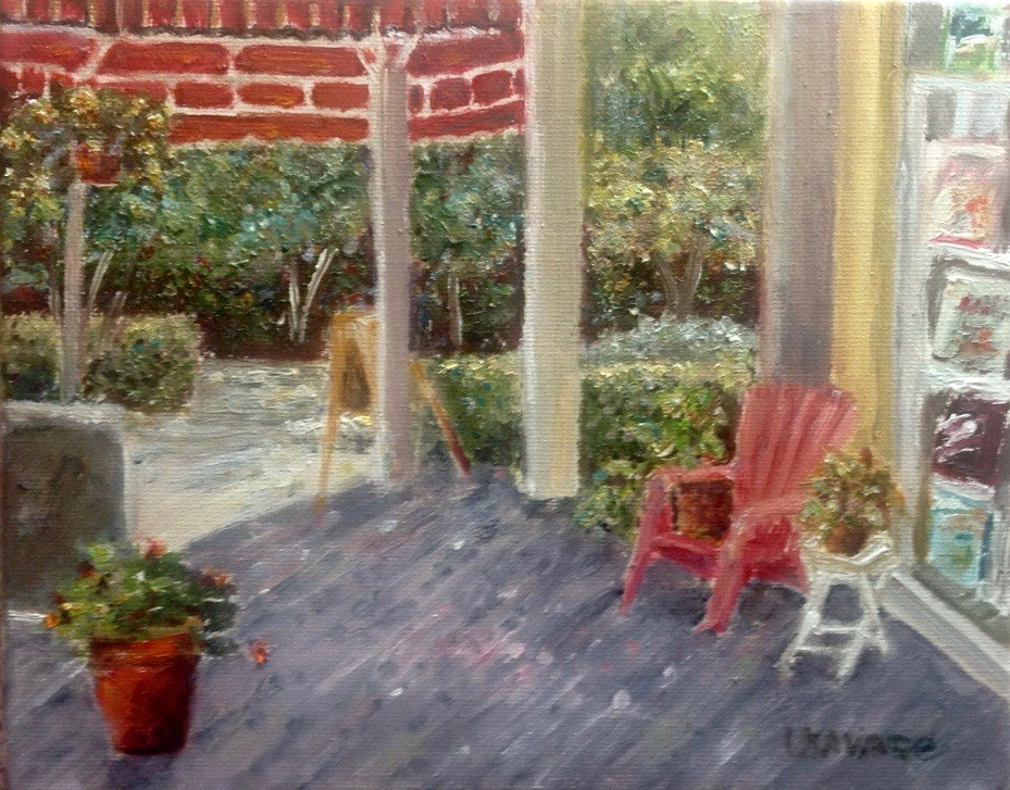 """The Bookstore's Comfy Porch"" original fine art by Judy Usavage"
