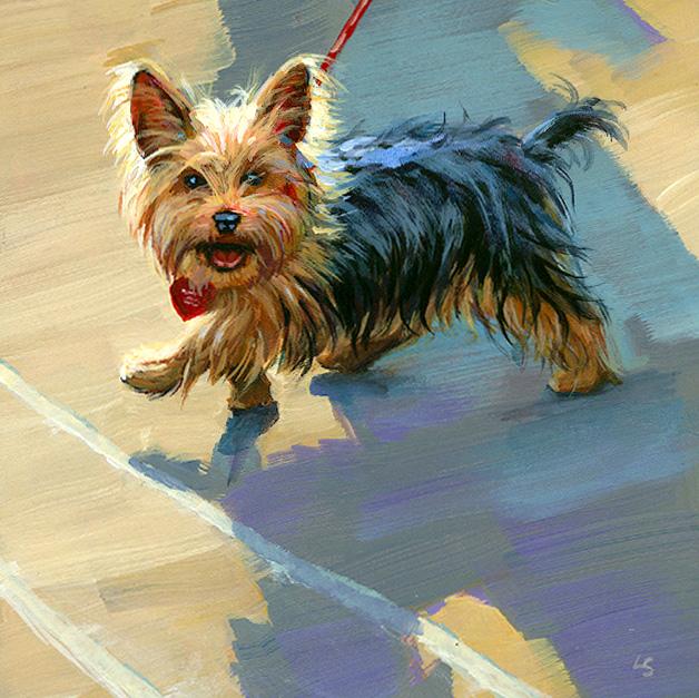 """""""Little Big Dog"""" original fine art by Lesley Spanos"""