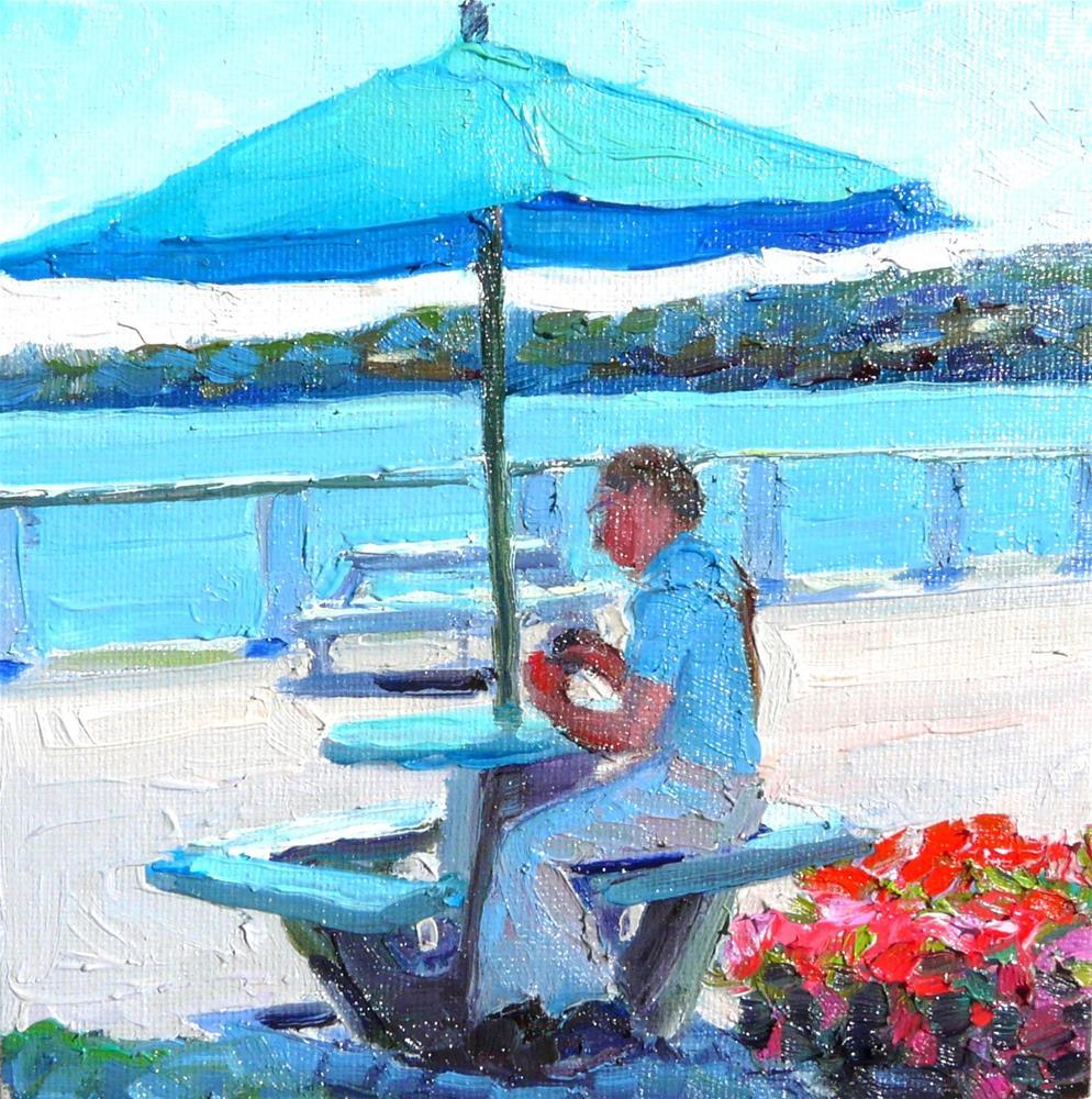 """Bayside Shade,figure,oil on canvas,6x6,priceNFS"" original fine art by Joy Olney"