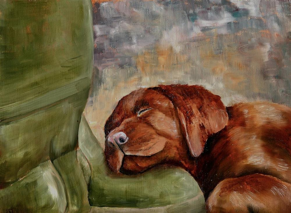"""""""Pup On Boots (and the origin of all chocolate labradors)"""" original fine art by Karen Robinson"""