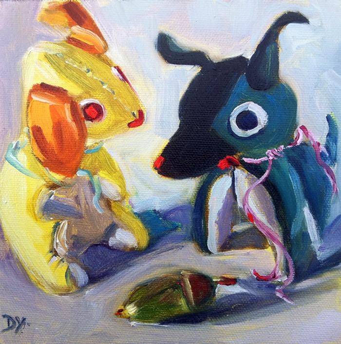 """Little Guards, oil on canvas board, 6x6"" original fine art by Darlene Young"
