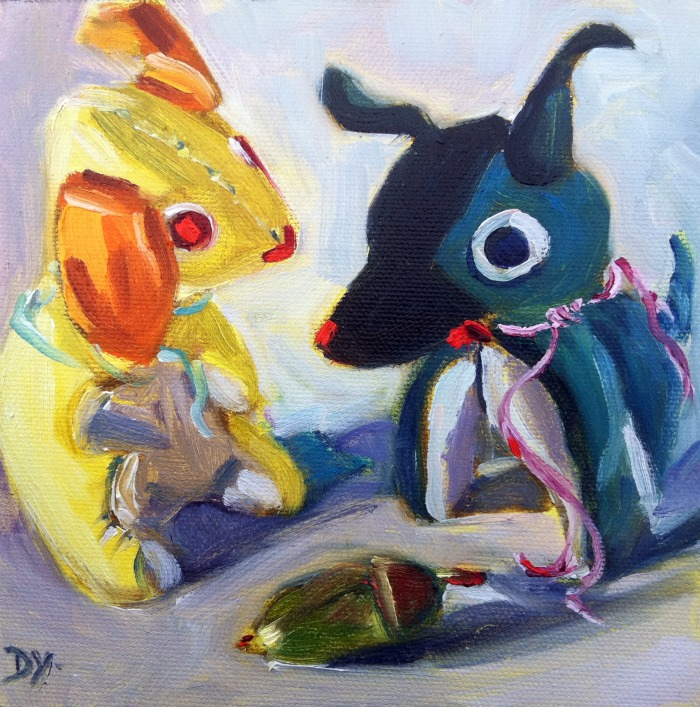 """Little Guards, oil on canvas board, 6x6"" original fine art by Darlene Young"