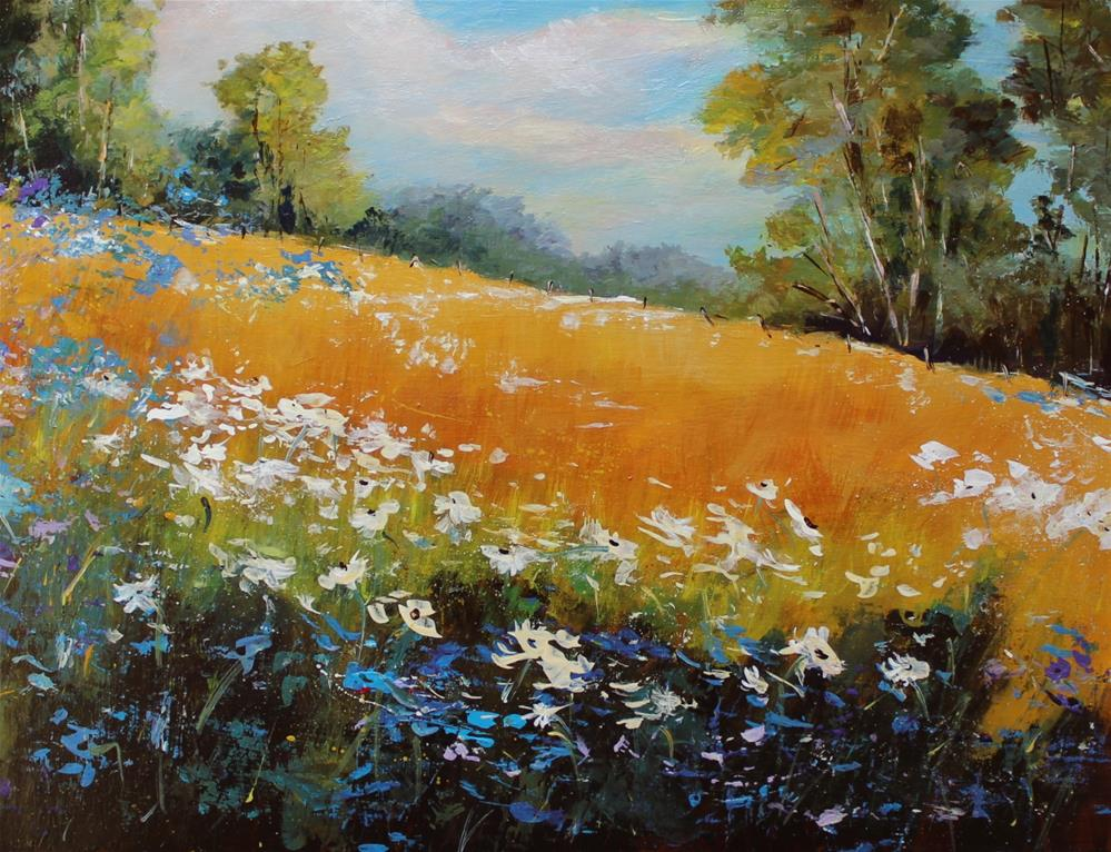 """Wildflower Landscape Original Acrylic Painting"" original fine art by Alice Harpel"