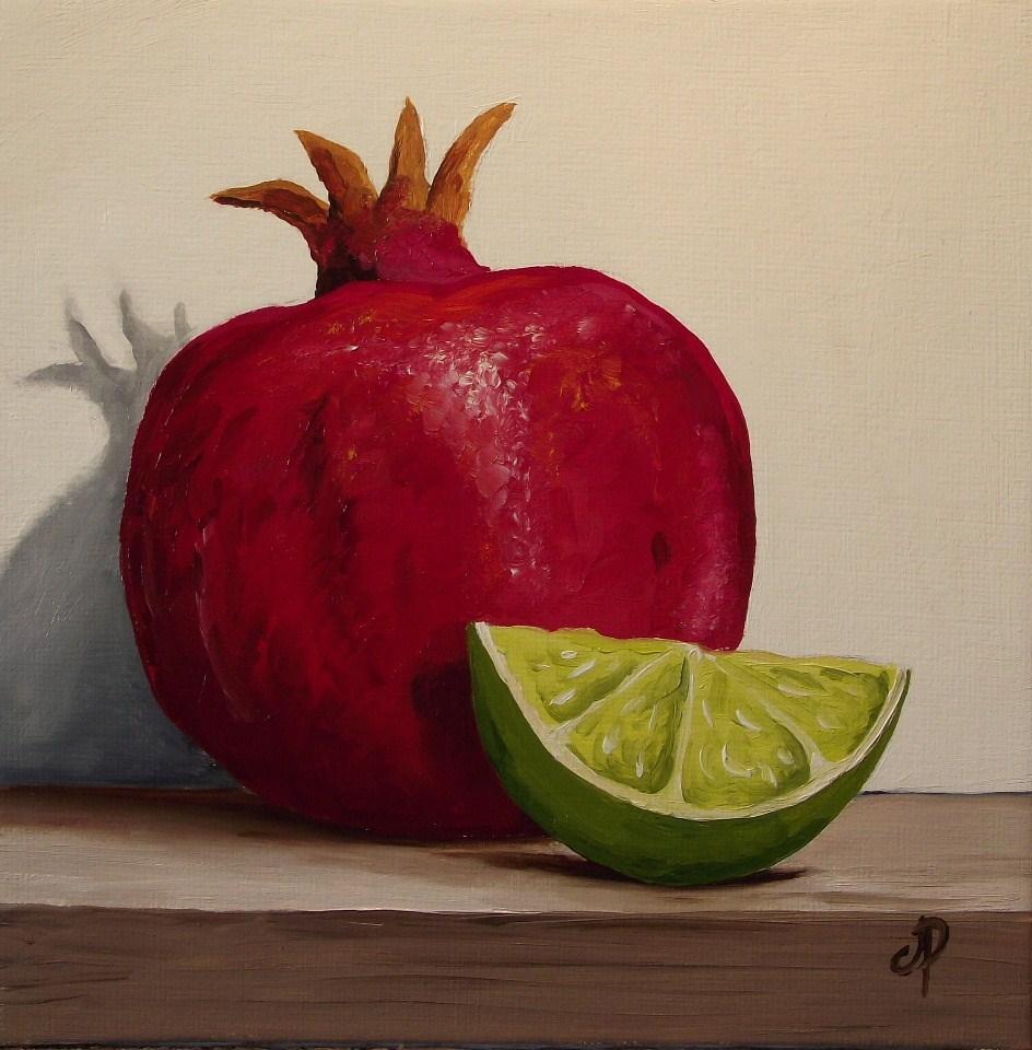 """Pomegranate and Lime"" original fine art by Jane Palmer"