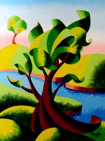 """Mark Webster - Abstract Geometric Landscape Oil Painting"" original fine art by Mark Webster"