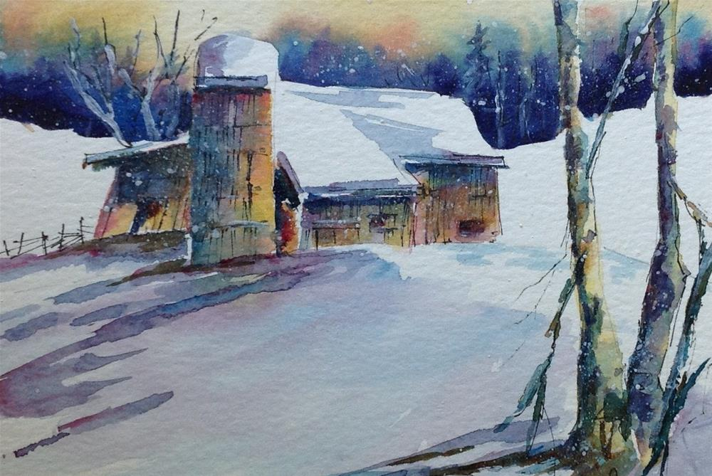 """Original Indiana barn winter landscape snow painting"" original fine art by Alice Harpel"