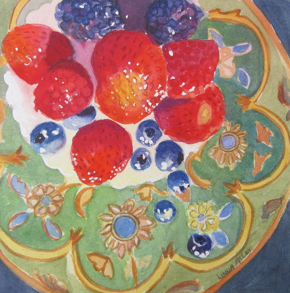 """Strawberry Fields Forever, Watercolor by Linda McCoy"" original fine art by Linda McCoy"