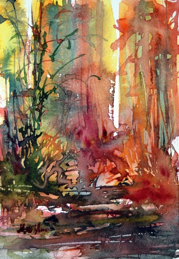 """""""Autumnal forest"""" original fine art by Mikko Tyllinen"""