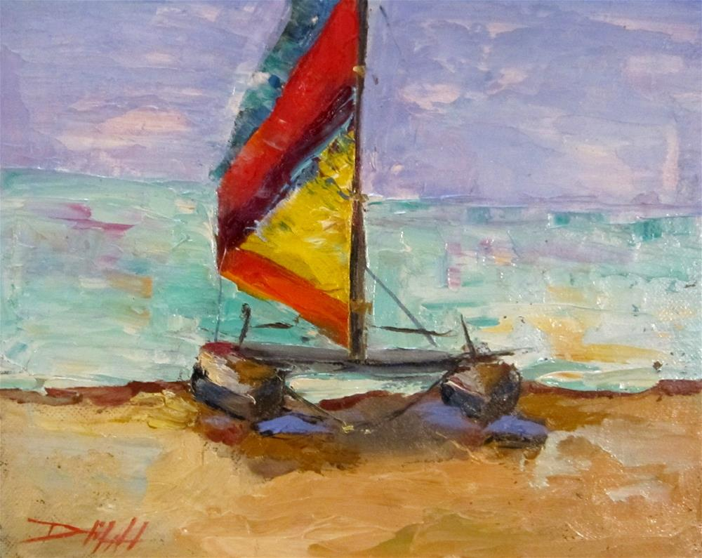 """Hobie Cat Sailboat"" original fine art by Delilah Smith"