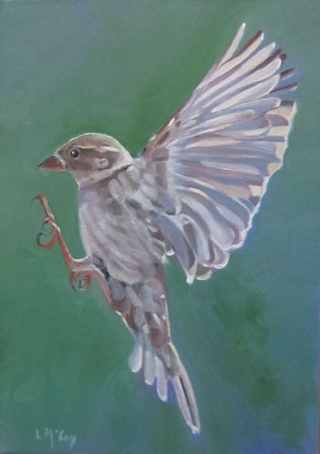 """Flying Female Sparrow by Linda McCoy"" original fine art by Linda McCoy"
