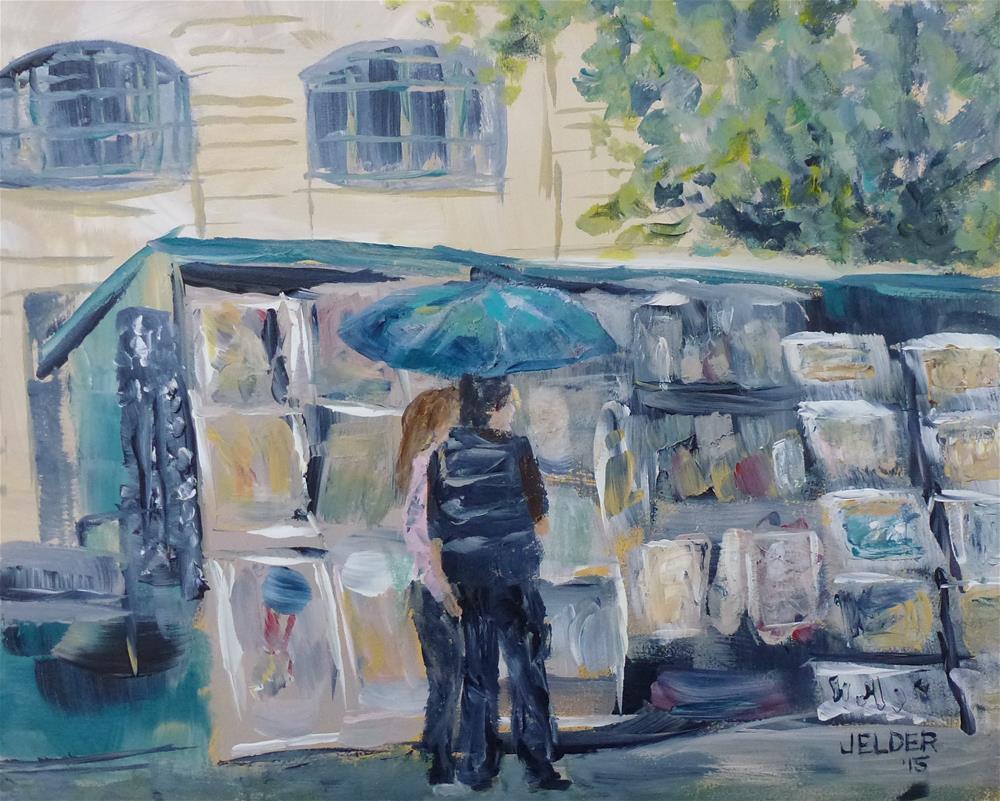 """Browsing at a Bouquiniste, Paris No. 77"" original fine art by Judith Elder"
